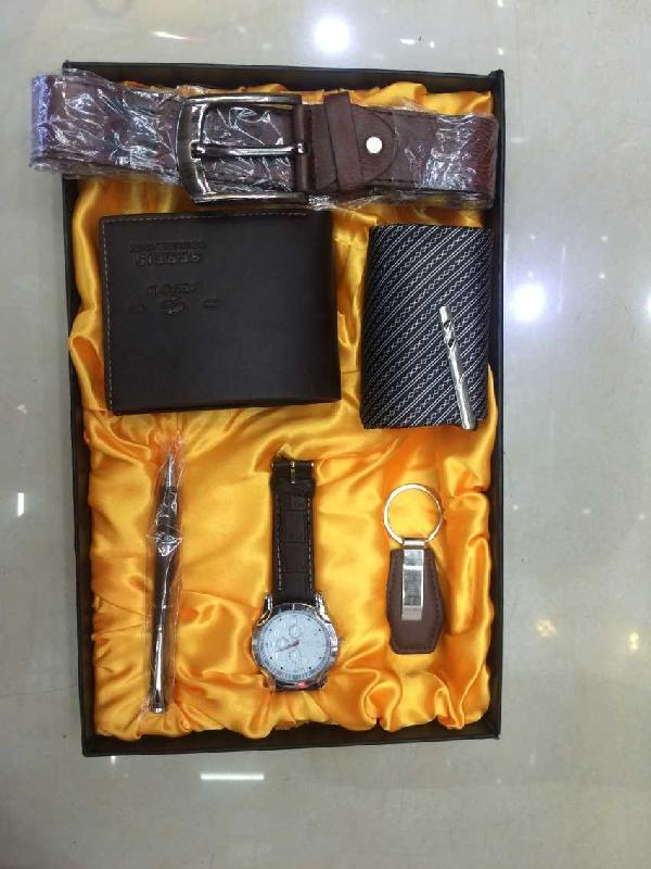 Men S 6 Piece Gift Box Watch Key Holder Pen Tie Belt Wallet Promotional
